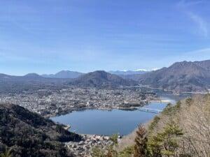 四方の山に囲まれた河口湖